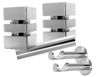 "Cubix Finial, 1-1/8"" Diam. Contemporary Rod Set"