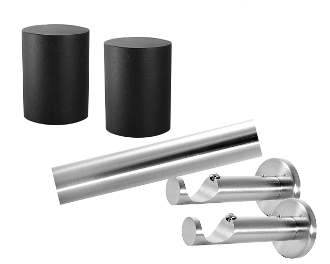 "Wood Cylinder Finial, 1-1/8"" Diam. Contemporary Rod Set"